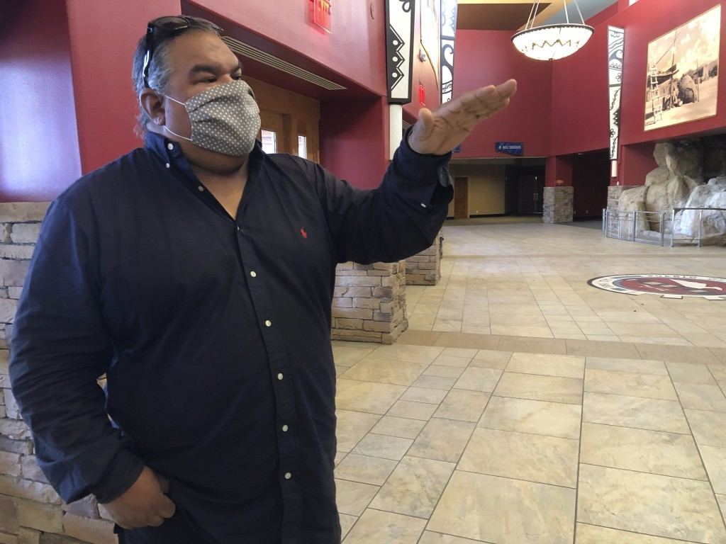 In this June 25, 2020 photo, Cheyenne and Arapaho filmmaker Chris Eyre, an advisor to Camel Rock Studio, talks about Tesuque Pueblo's new film studio ...