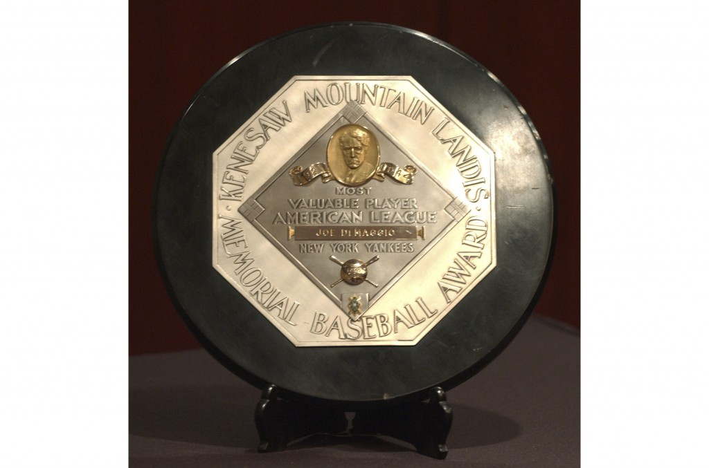 FILE - In this Jan. 22, 2006, file photo,a  Joe DiMaggio 1947 MVP Award Plaque is displayed at a news conference in New York. The plaque features the ...