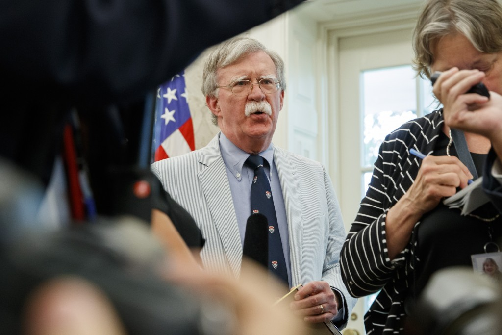 FILE - In this July 19, 2019, file photo, then-National security adviser John Bolton speaks at the request of President Donald Trump during a photo op...