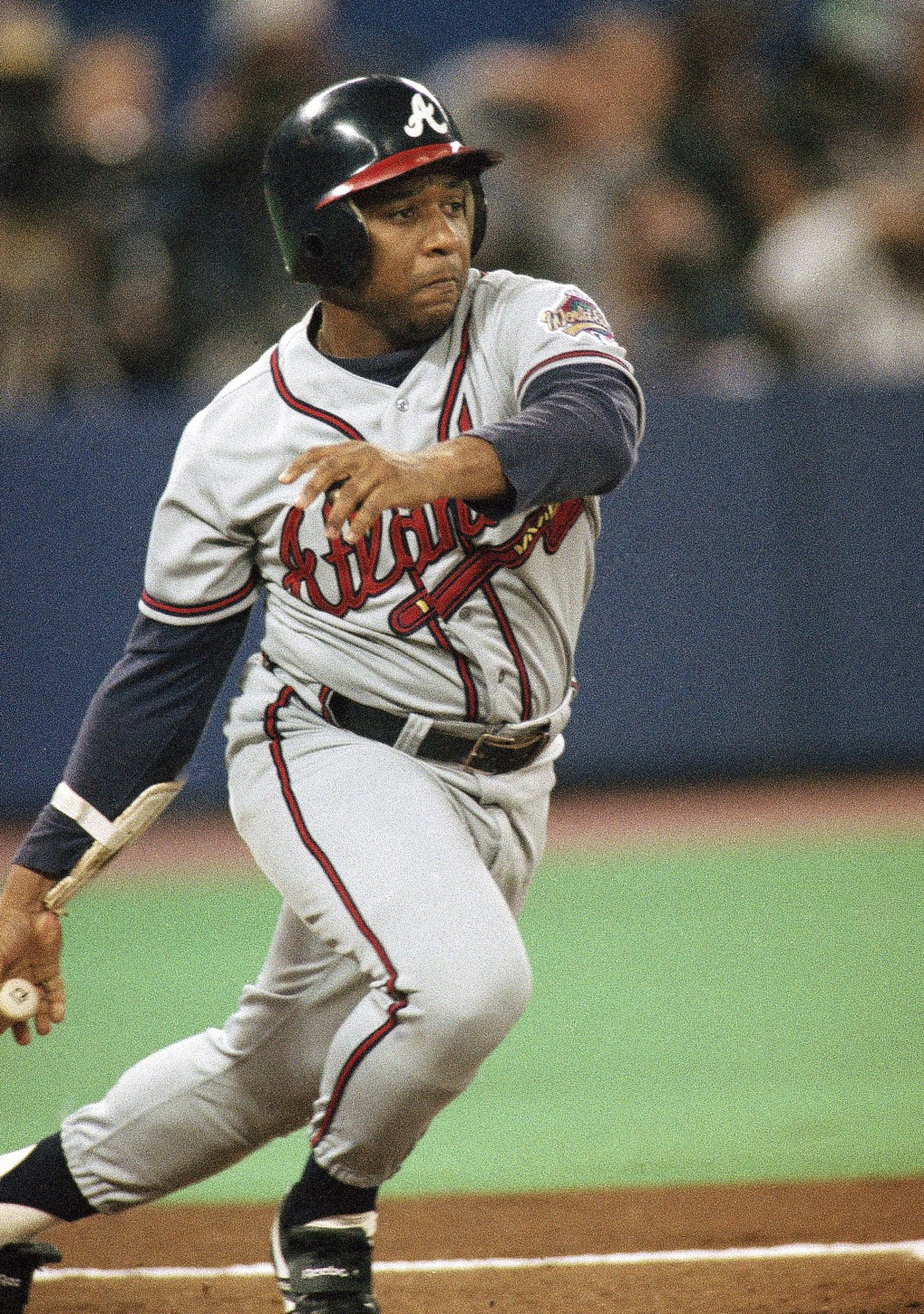 FILE - In this Oct. 22, 1992, file photo, Atlanta Braves' Terry Pendleton watches an RBI double against the Toronto Blue Jays in the first inning of G...