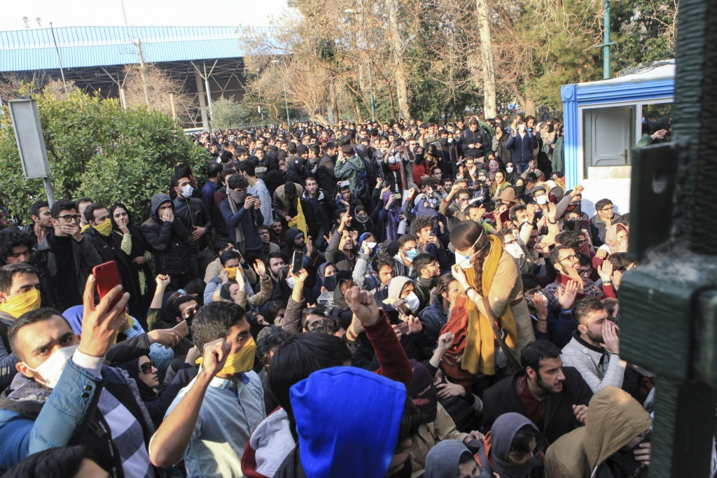 FILE - In this Dec. 30, 2017 file photo taken by an individual not employed by the Associated Press and obtained by the AP outside Iran, university st...