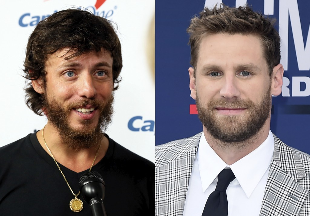 This combination photo shows Chris Janson at the iHeartCountry Festival in Austin, Texas on May 4, 2019, left, and Chase Rice at the 54th annual Acade...