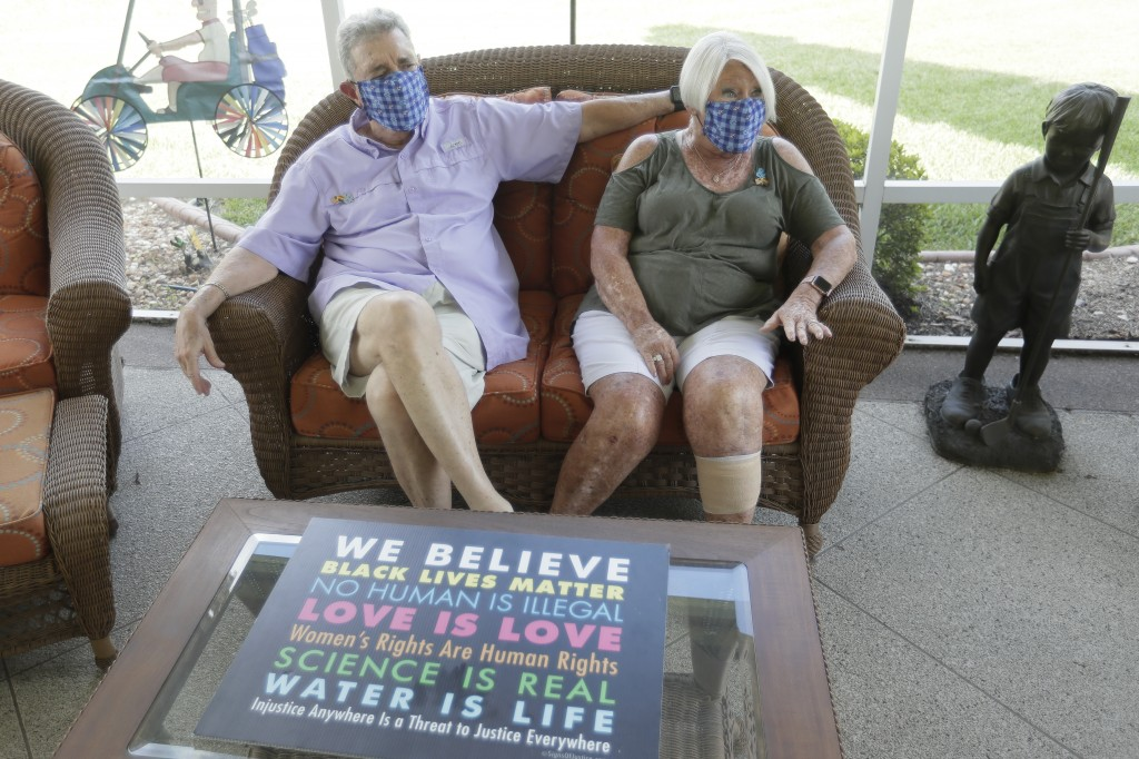 Ira and Ellen Friedman talk about the recent events in The Villages, Fla., retirement community at their home Monday, June 29, 2020. Residents of The ...