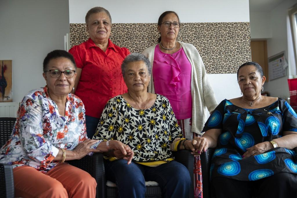 In this photo taken on Monday, June 29, 2020, clockwise from top left, Simone Ngalula, Monique Bitu Bingi, Lea Tavares Mujinga, Noelle Verbeeken and M...