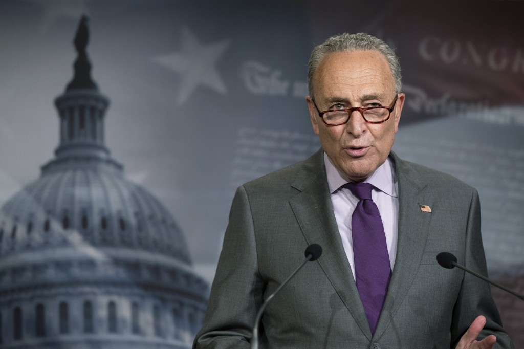 Senate Minority Leader Chuck Schumer of N.Y., speaks during a news conference on Capitol Hill, Tuesday, June 30, 2020, in Washington. (AP Photo/Manuel...