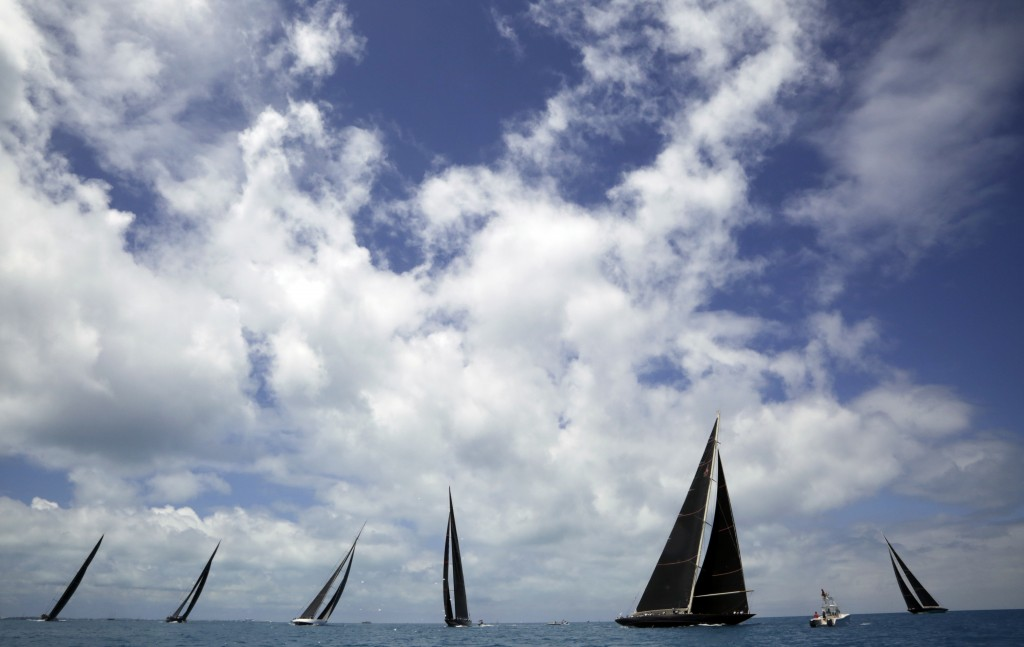 FILE - In this June 19, 2017, file photo, J Class boats race as part of America's Cup sailing event, in waters off of Bermuda. Government agencies pro...