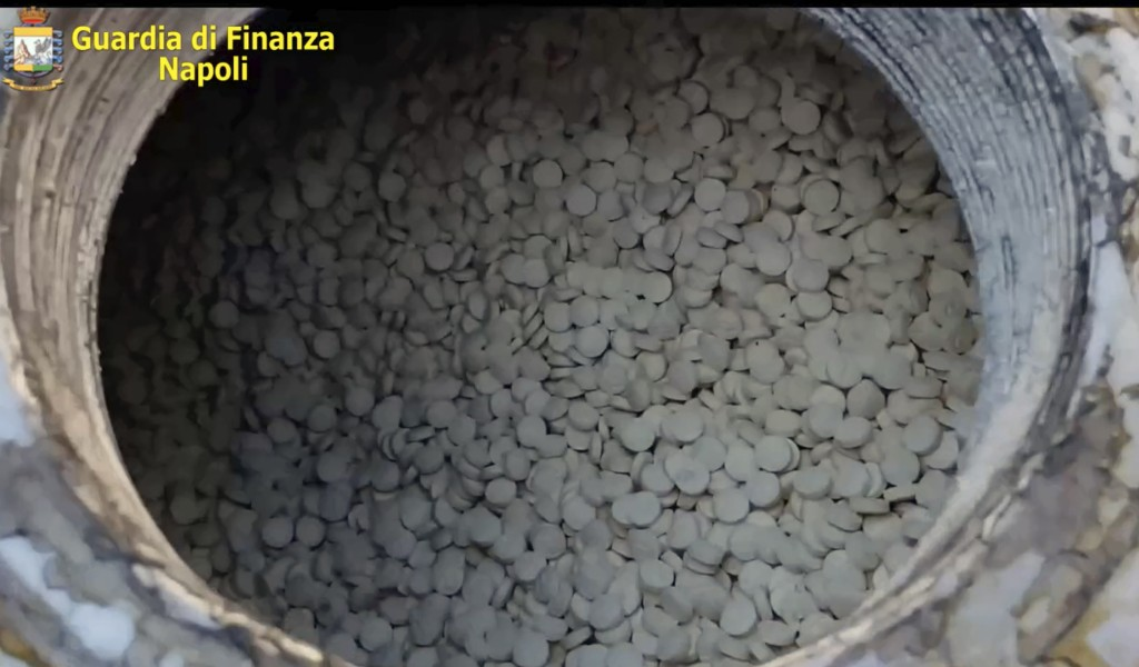 This image taken from a video shows amphetamines pills that were seized at the Salerno harbor, southern Italy, Wednesday, July 1, 2020.Italian police ...