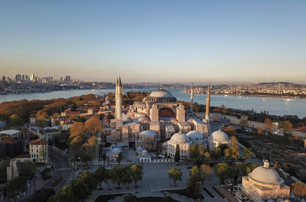An aerial view of the Byzantine-era Hagia Sophia, on Saturday, April 25, 2020, one of Istanbul's main tourist attractions in the historic Sultanahmet ...