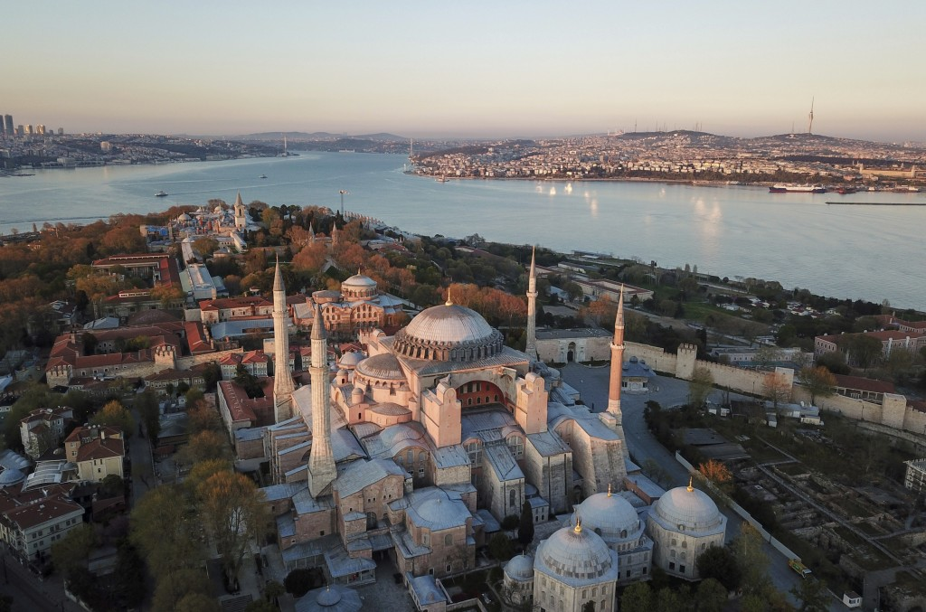 An aerial view of the Byzantine-era Hagia Sophia, one of Istanbul's main tourist attractions in the historic Sultanahmet district of Istanbul, Saturda...