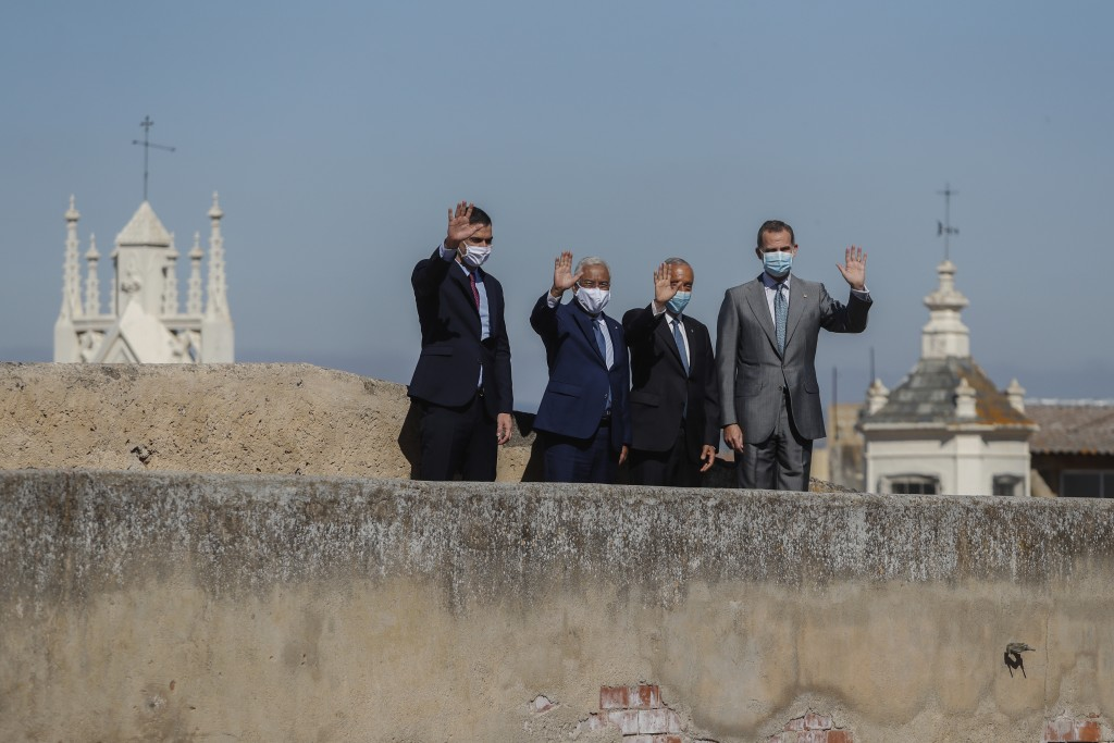 From left to right: Spain's Prime Minister Pedro Sanchez, Portugal's Prime Minister Antonio Costa, Portugal's President Marcelo Rebelo de Sousa and Sp...