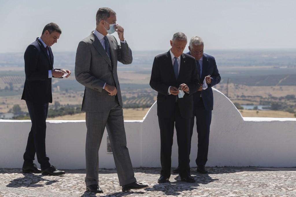 From left to right: Spain's Prime Minister Pedro Sanchez, Spain's King Felipe VI, Portugal's President Marcelo Rebelo de Sousa and Portugal's Prime Mi...