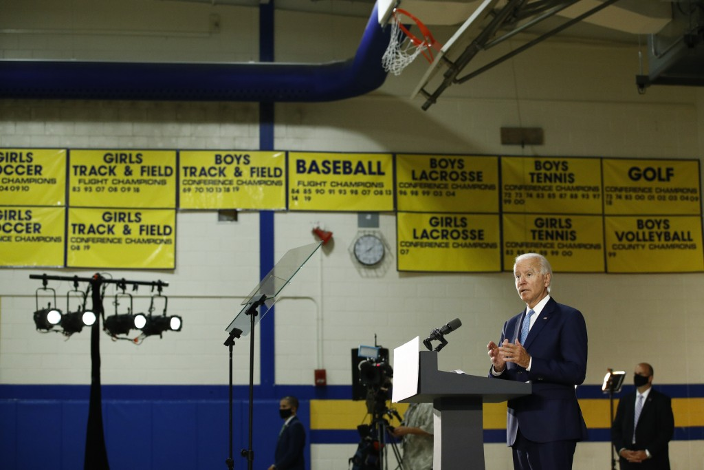 Democratic presidential candidate, former Vice President Joe Biden speaks at Alexis Dupont High School in Wilmington, Del., Tuesday, June 30, 2020. (A...