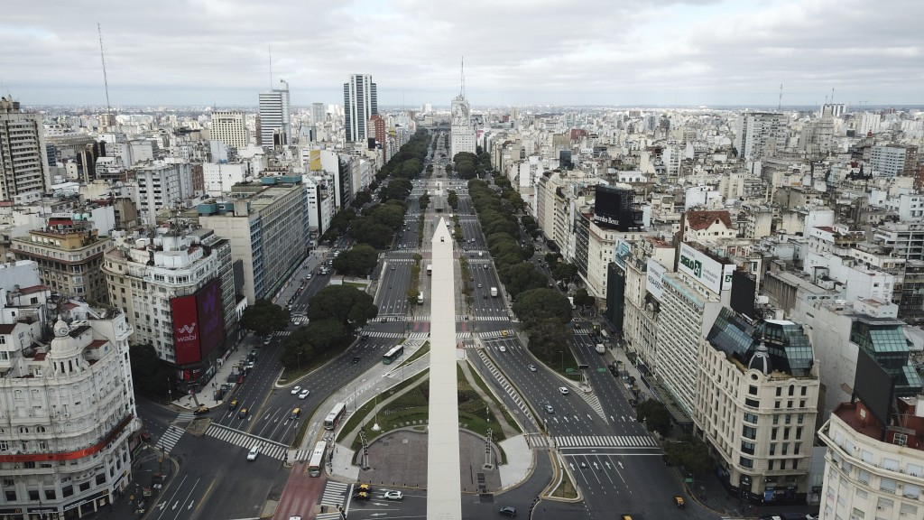 The 9 de Julio Boulevard is seen almost devoid of traffic during the return to a strict lockdown to curb the spread of COVID-19 in Buenos Aires, Argen...