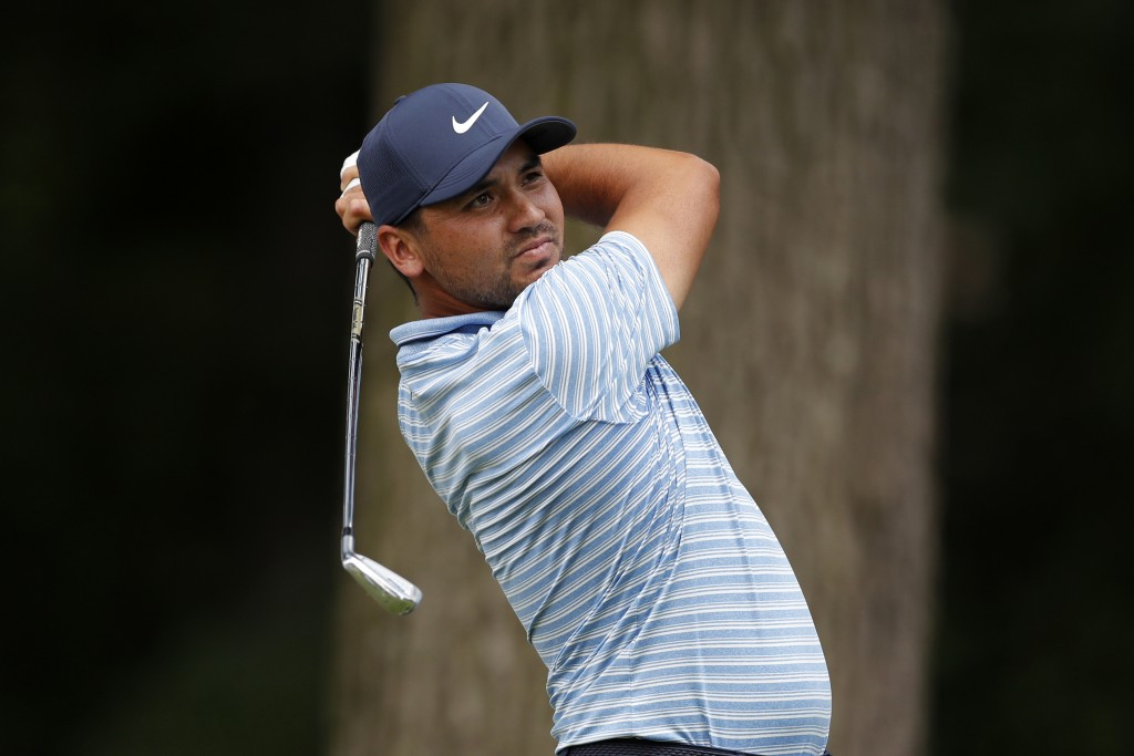 Jason Day drives during a nine-hole exhibition ahead of the Rocket Mortgage Classic golf tournament, Wednesday, July 1, 2020, at the Detroit Golf Club...