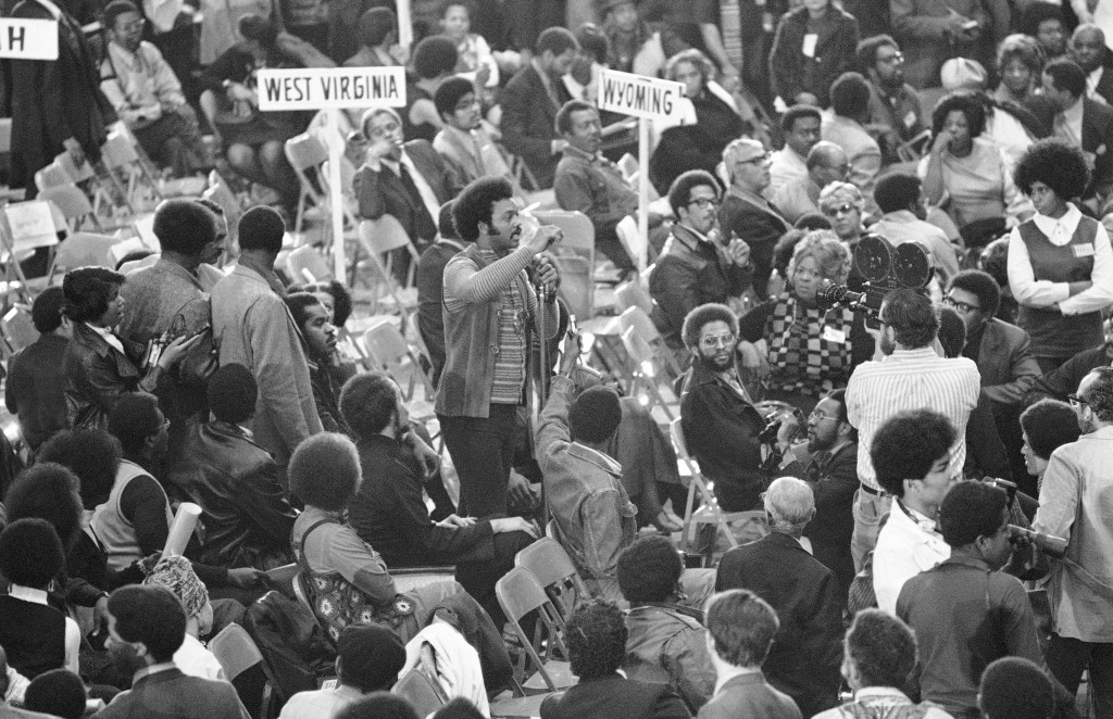 FILE - In this March 13, 1972, file photo, the Rev. Jesse Jackson, executive director of Operation: PUSH, speaks from the floor of the National Black ...