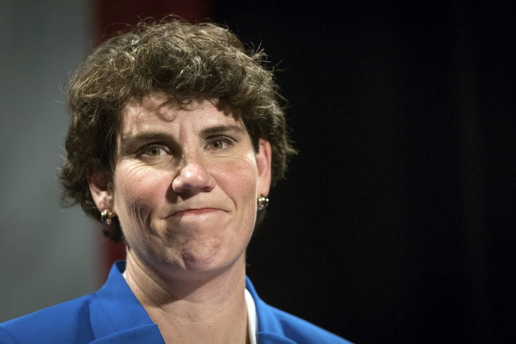 FILE - In this Nov. 6, 2018, file photo, Amy McGrath speaks to supporters in Richmond, Ky. Looking to flex his newfound influence after his Senate cam...