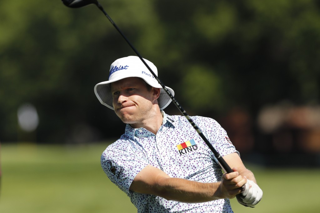 Peter Malnati hits from the second tee during the first round of the Rocket Mortgage Classic golf tournament, Thursday, July 2, 2020, at the Detroit G...
