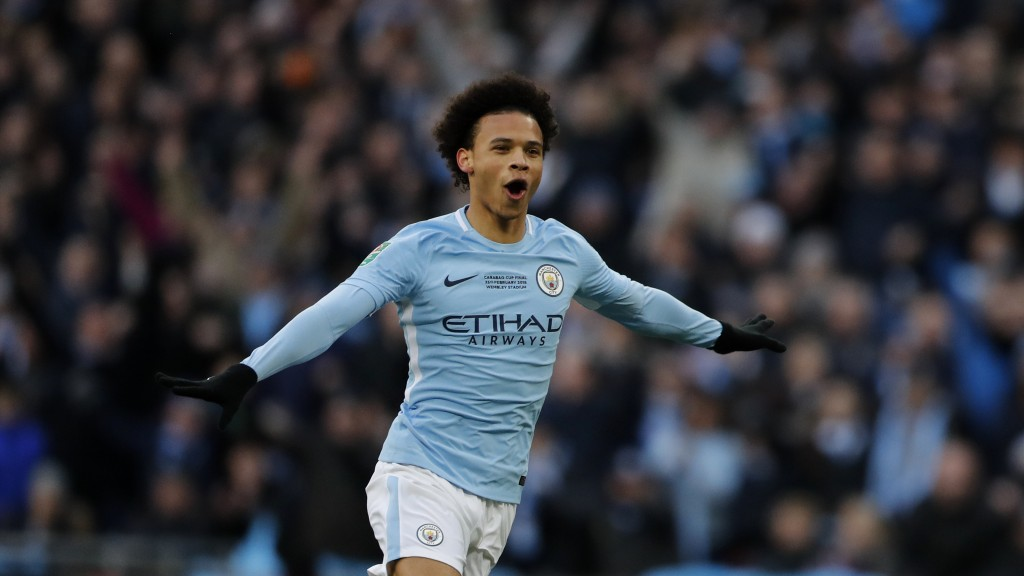 FILE-In this Feb. 25, 2018 file photo Manchester City's Leroy Sane celebrates during the English League Cup final soccer match between Arsenal and Man...