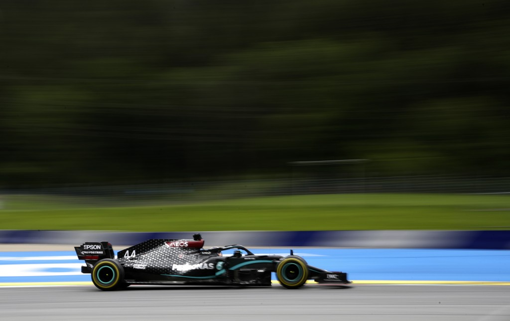 Mercedes driver Lewis Hamilton of Britain steers his car during the second practice session at the Red Bull Ring racetrack in Spielberg, Austria, Frid...