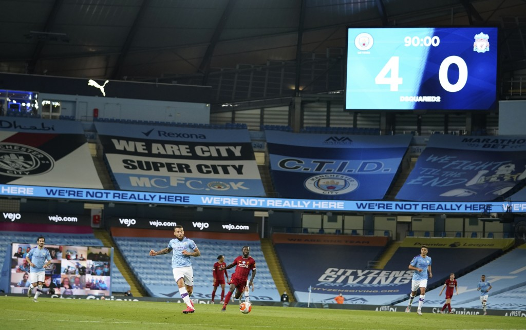 Scoreboard shows the final score during the English Premier League soccer match between Manchester City and Liverpool at Etihad Stadium in Manchester,...