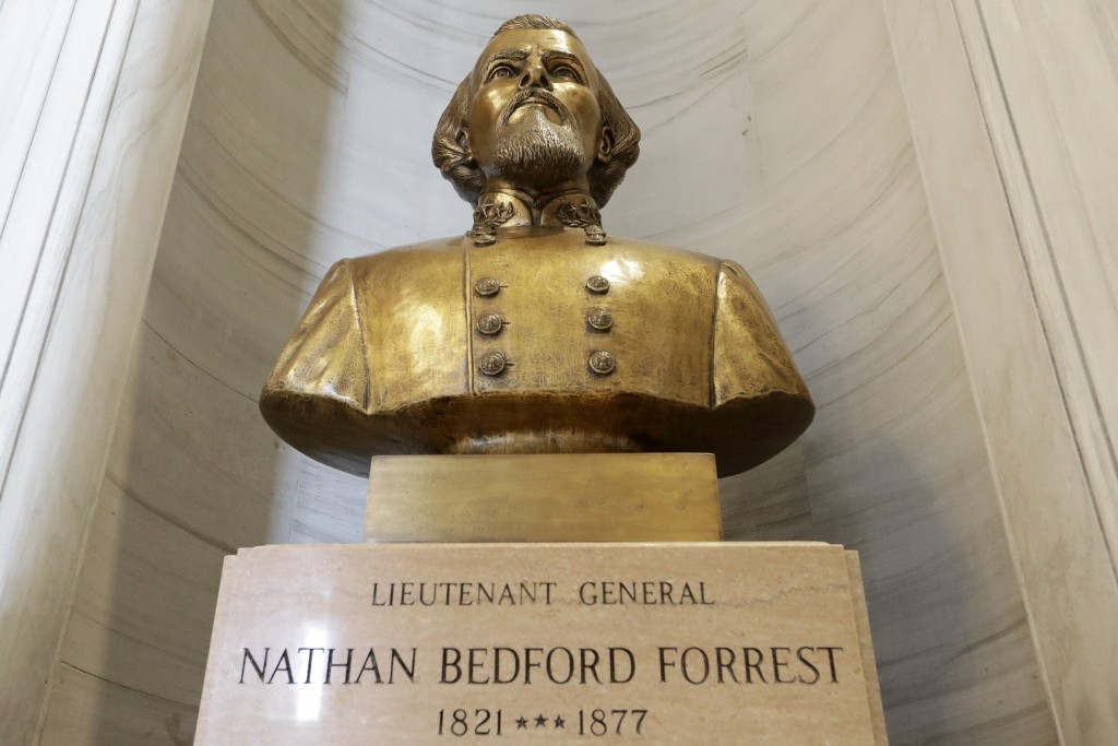 The bust of Nathan Bedford Forrest is displayed in the state capitol Wednesday, July 1, 2020, in Nashville, Tenn. Gov. Bill Lee announced Wednesday th...