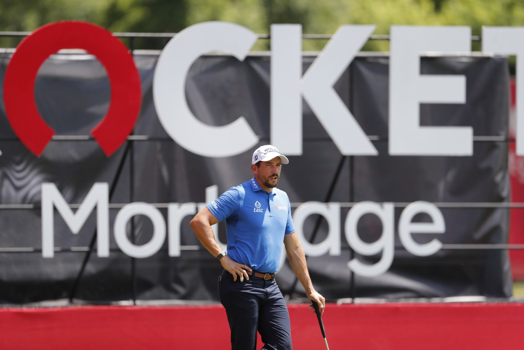 Scott Stallings waits to putt on the 18th green during the first round of the Rocket Mortgage Classic golf tournament, Thursday, July 2, 2020, at the ...