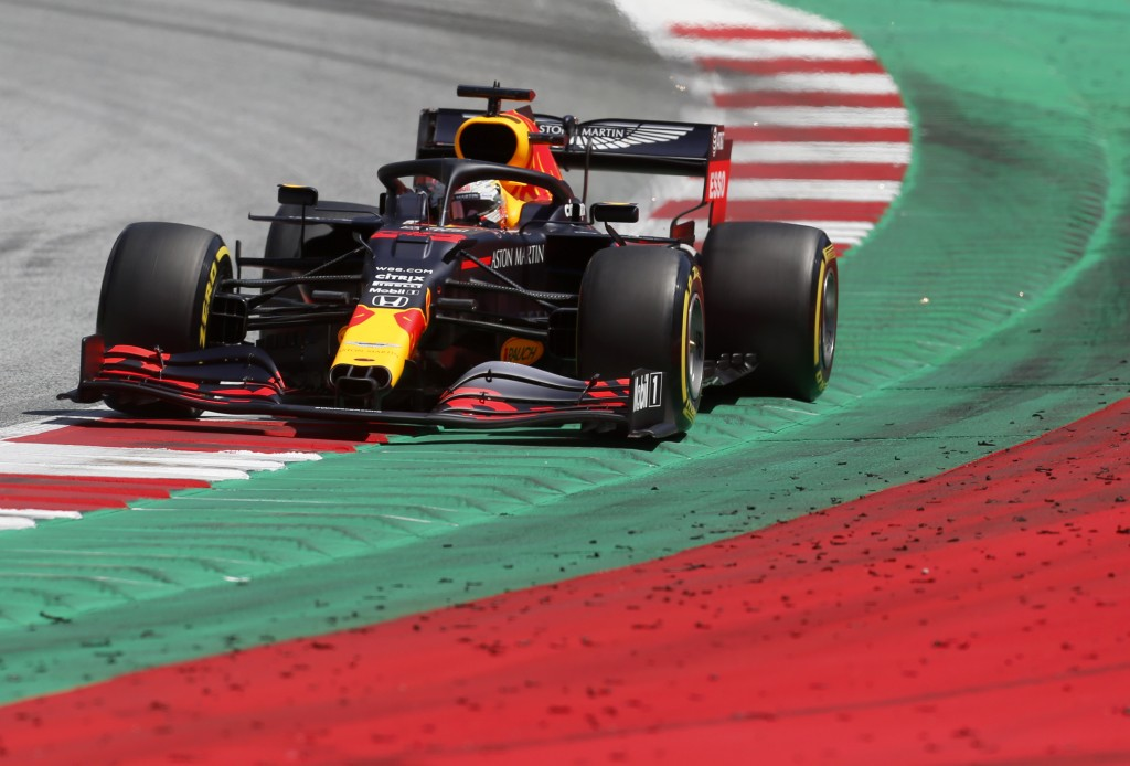Red Bull driver Max Verstappen of the Netherlands steers his car during the third practice session at the Red Bull Ring racetrack in Spielberg, Austri...