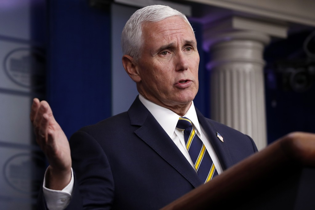 FILE - In this April 22, 2020, file photo, Vice President Mike Pence speaks about the coronavirus in the James Brady Press Briefing Room of the White ...