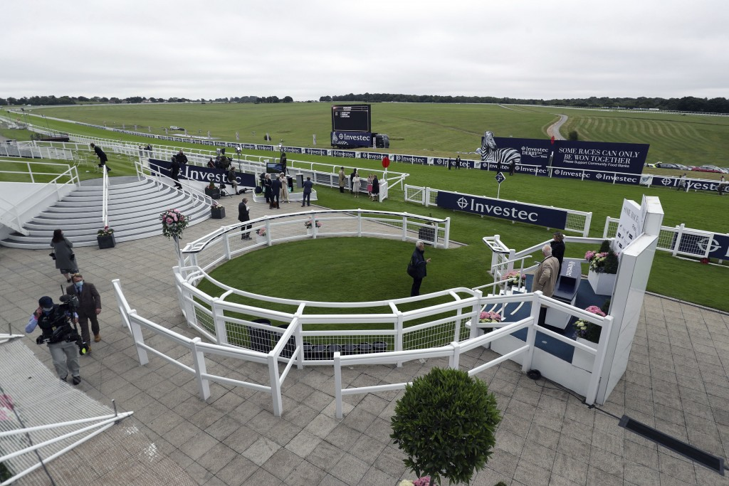 A view of the Winners Enclosure at Epsom Racecourse, in Epsom, England, Saturday July 4, 2020. The Derby annual horse race will take place at the Epso...