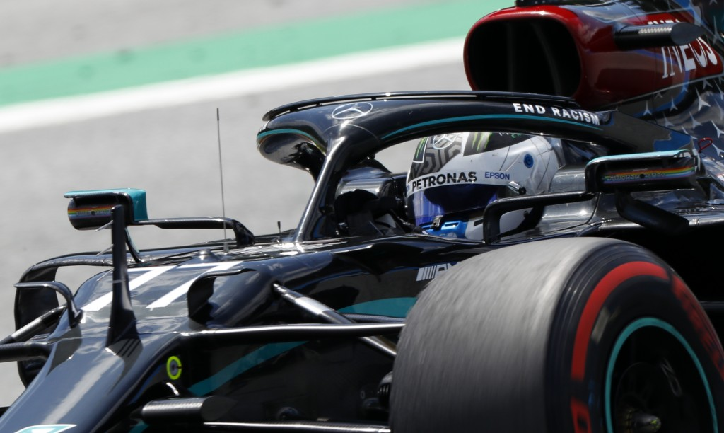 Mercedes driver Valtteri Bottas of Finland steers his car during the third practice session at the Red Bull Ring racetrack in Spielberg, Austria, Satu...