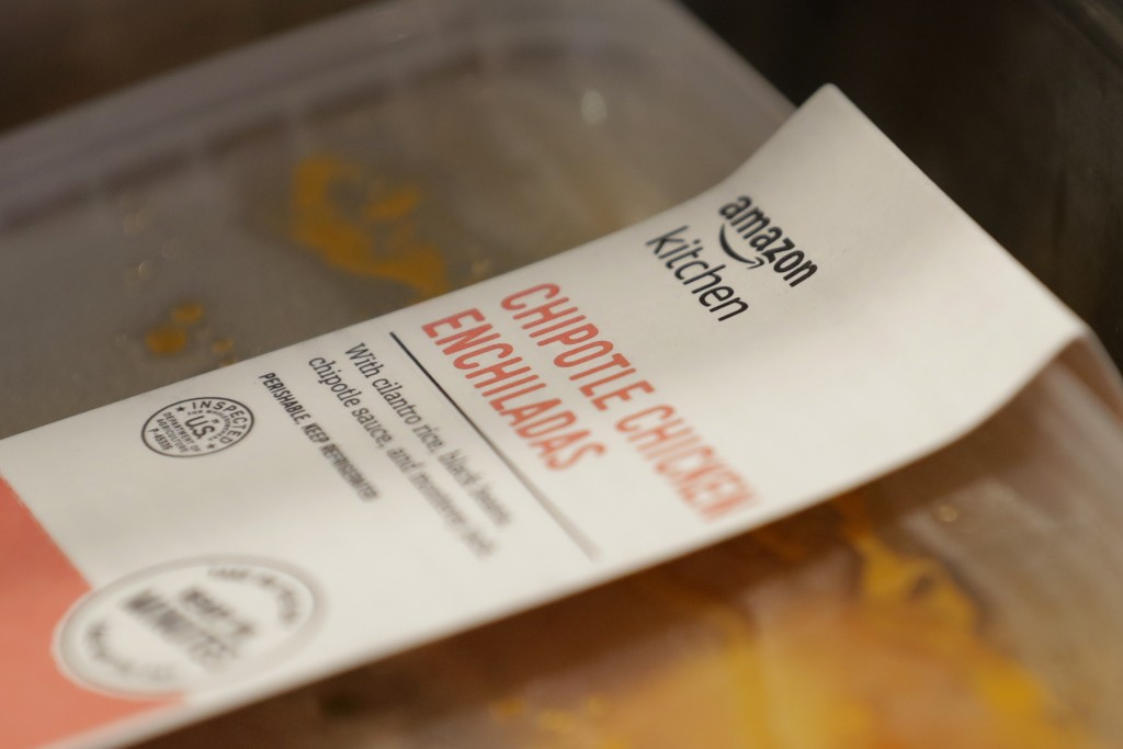 An item from Amazon kitchen is shown in a serving area, Wednesday, June 17, 2020, at Mary's Place, a family homeless shelter located inside an Amazon ...