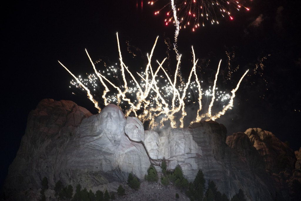 Fireworks light the sky at Mount Rushmore National Memorial, Friday, July 3, 2020, near Keystone, S.D., after President Donald Trump spoke. (AP Photo/...