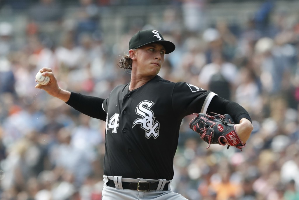 FILE - In this Aug. 26, 2018, file photo, Chicago White Sox starting pitcher Michael Kopech throws during the first inning of a baseball game against ...
