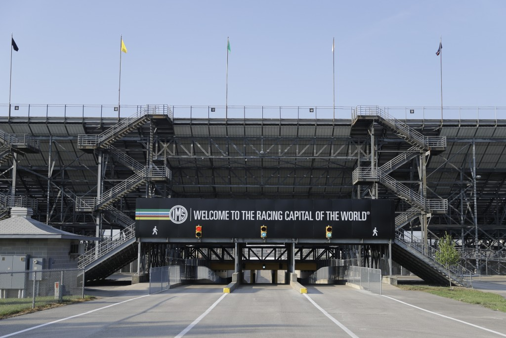An Indianapolis Motor Speedway signs greets visitors as they enter the north entrance at the Indianapolis Motor Speedway in Indianapolis, Friday, July...
