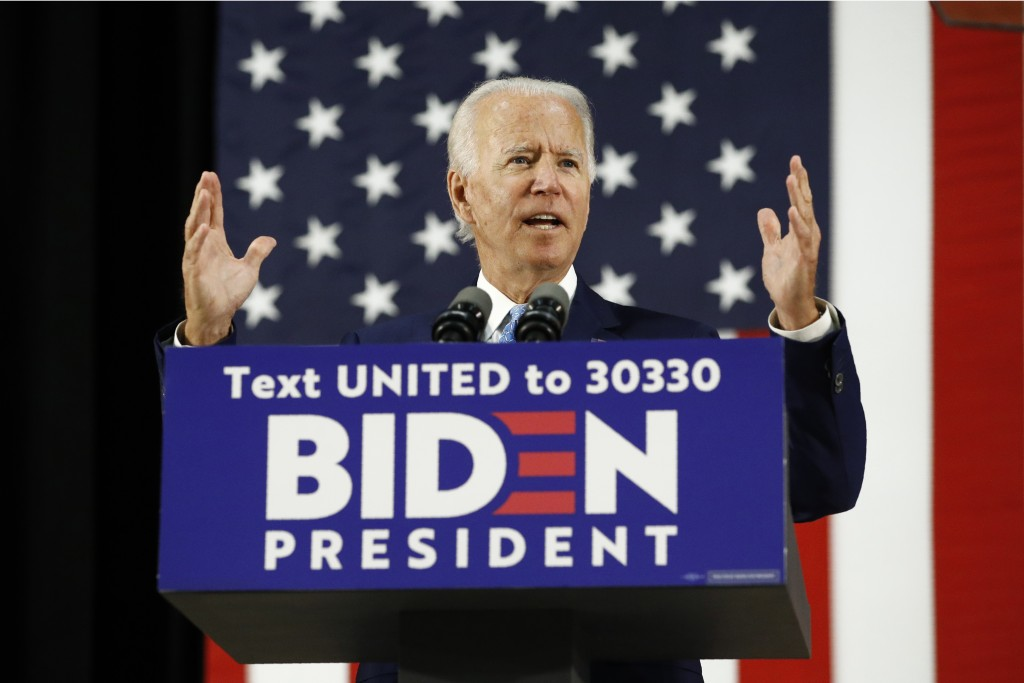 Democratic presidential candidate Joe Biden speaks at high school in Wilmington, Del., on June 30, 2020.
