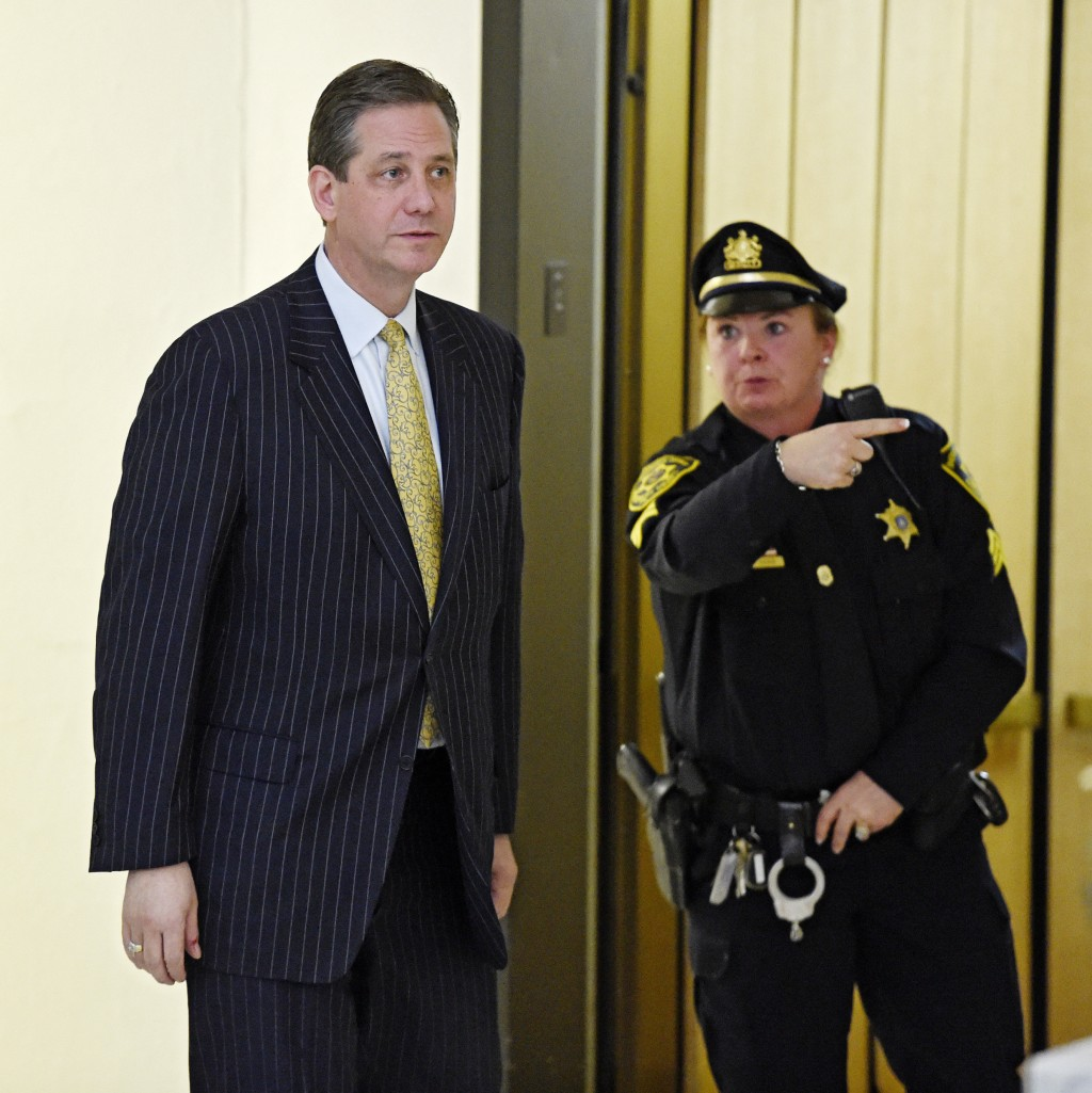 FILE - In this Feb. 2, 2016, file photo, former Montgomery County District Attorney Bruce Castor is directed to another elevator after taking the witn...