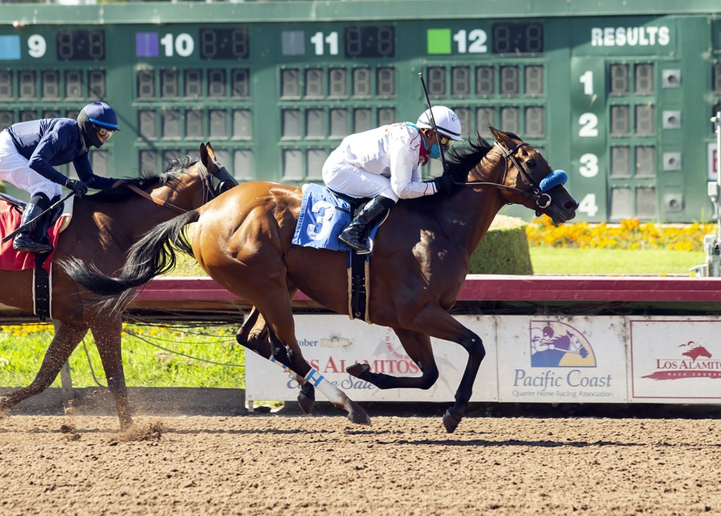 In this image provided by Benoit Photo, Sneaking Out, with Martin Garcia aboard, wins the Grade II, $200,000 Great Lady M Stakes horse race Saturday, ...