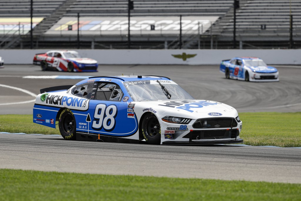 NASCAR Xfinity Series driver Chase Briscoe drives through a turn during the NASCAR Xfinity Series auto race at Indianapolis Motor Speedway in Indianap...