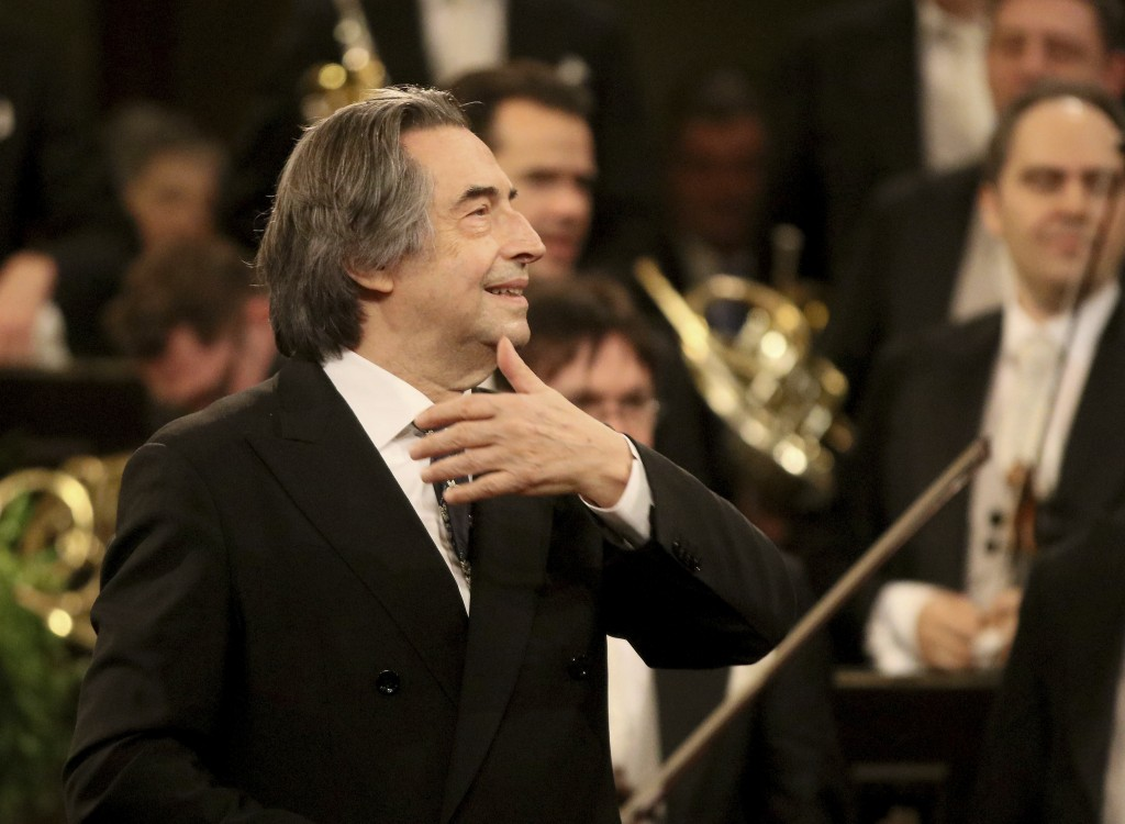 FILE - In this Jan. 1, 2018 file photo, Italian Maestro Riccardo Muti conducts the Vienna Philharmonic Orchestra during the traditional New Year's con...