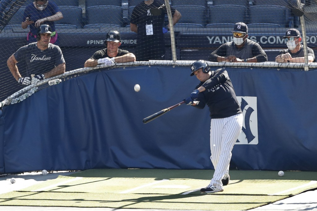 New York Yankees' Mike Tauchman, left, and Brett Gardner, second from left, watch as Gio Urshela bats in the cage during a baseball summer training ca...