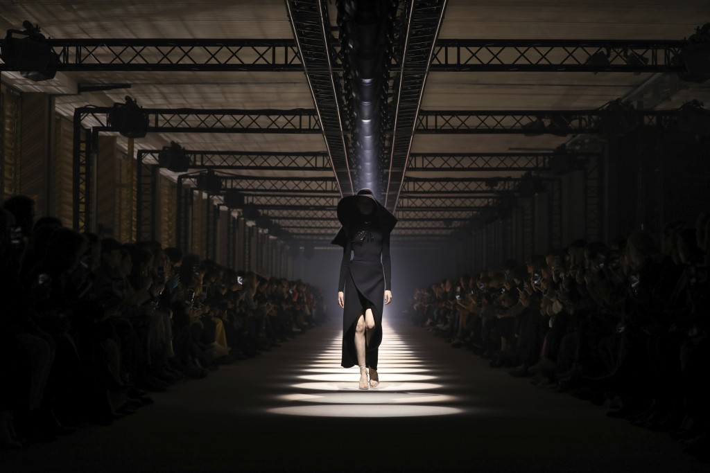 FILE - In this March 1, 2020 file photo, a model wears a creation for the Givenchy fashion collection during Women's fashion week Fall/Winter 2020/21 ...