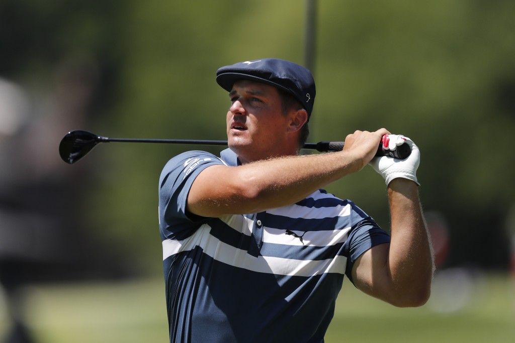 Bryson DeChambeau drives on the second tee during the final round of the Rocket Mortgage Classic golf tournament, Sunday, July 5, 2020, at Detroit Gol...