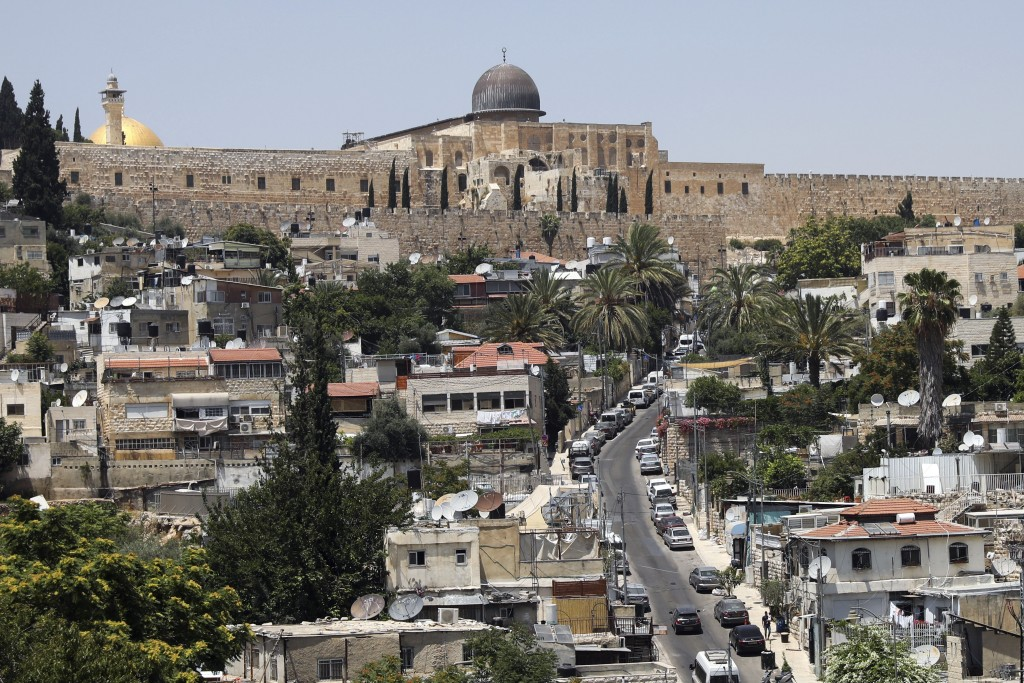A general view of the Palestinian neighborhood of Silwan in east Jerusalem below the al-Aqsa mosque compound, seen on Wednesday, July 1, 2020. Israeli...