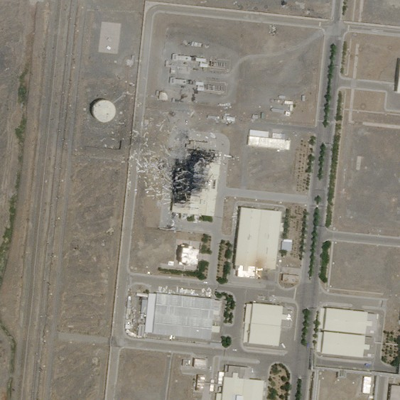 This Sunday, July 5, 2020 satellite image from Planet Labs Inc. shows the substantial damage done by an explosion and a fire at an advanced centrifuge...