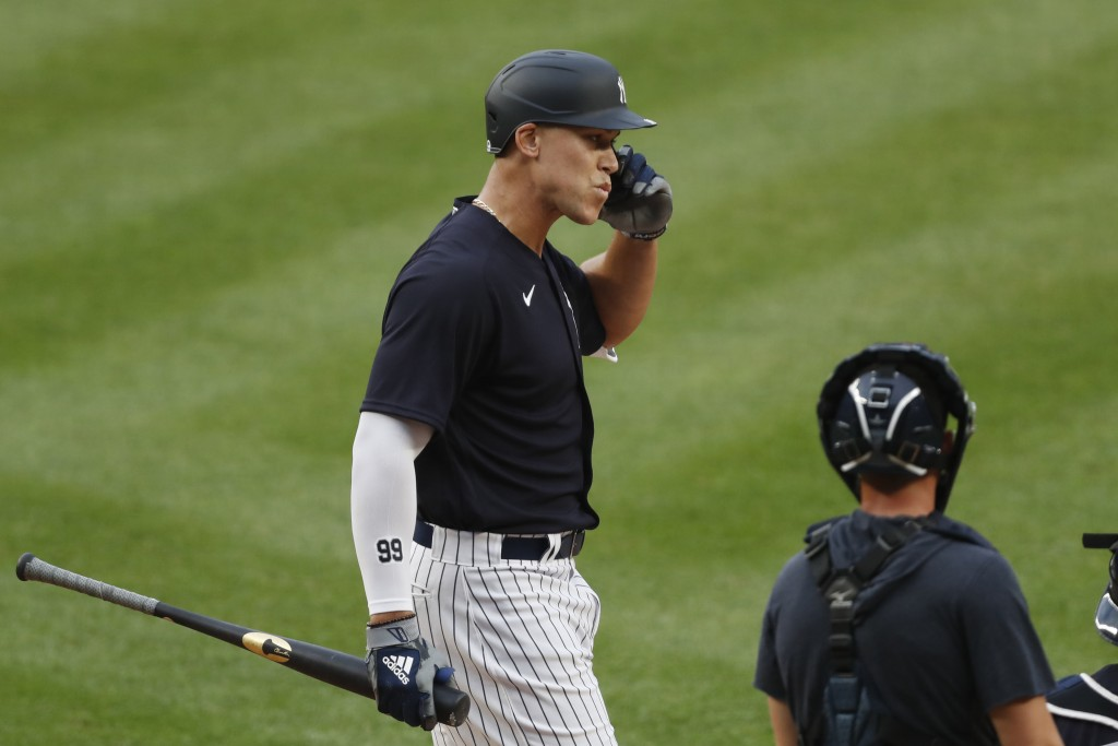New York Yankees' Aaron Judge reacts after an at-bat during an intrasquad baseball game Monday, July 6, 2020, at Yankee Stadium in New York. (AP Photo...