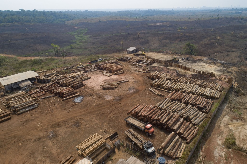 FILE - In this Sept. 2, 2019 file photo, logs are stacked at a lumber mill surrounded by recently charred and deforested fields near Porto Velho, Rond...