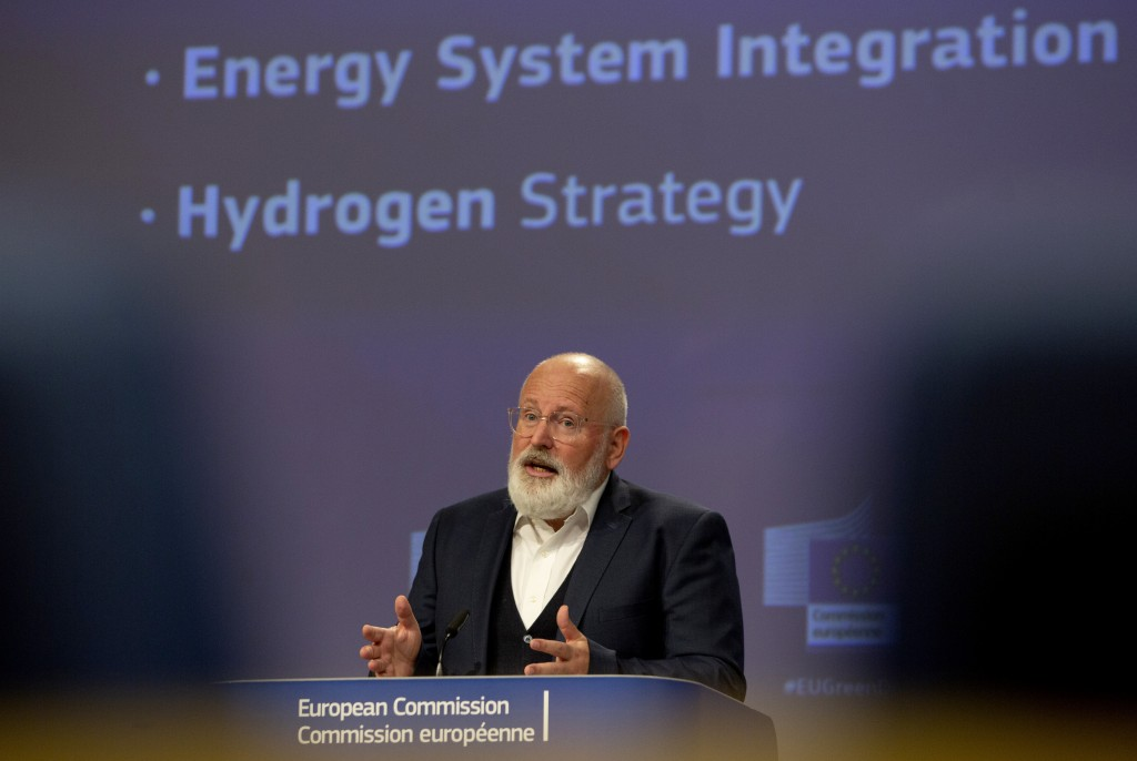 European Commissioner for European Green Deal Frans Timmermans speaks during a media conference at EU headquarters in Brussels, Wednesday, July 8, 202...
