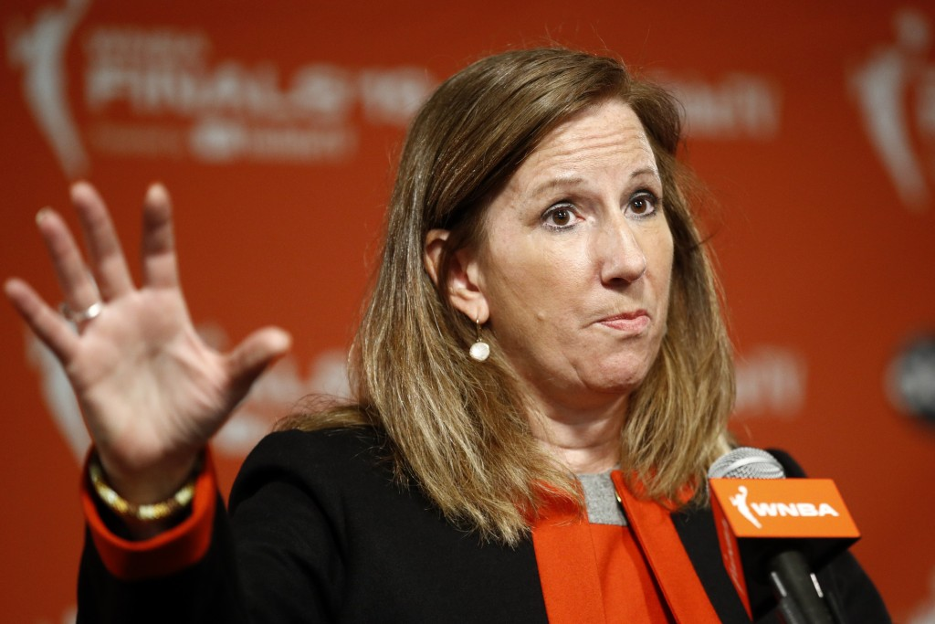 FILE - WNBA Commissioner Cathy Engelbert speaks at a news conference before Game 1 of basketball's WNBA Finals, in a Sunday, Sept. 29, 2019 file photo...