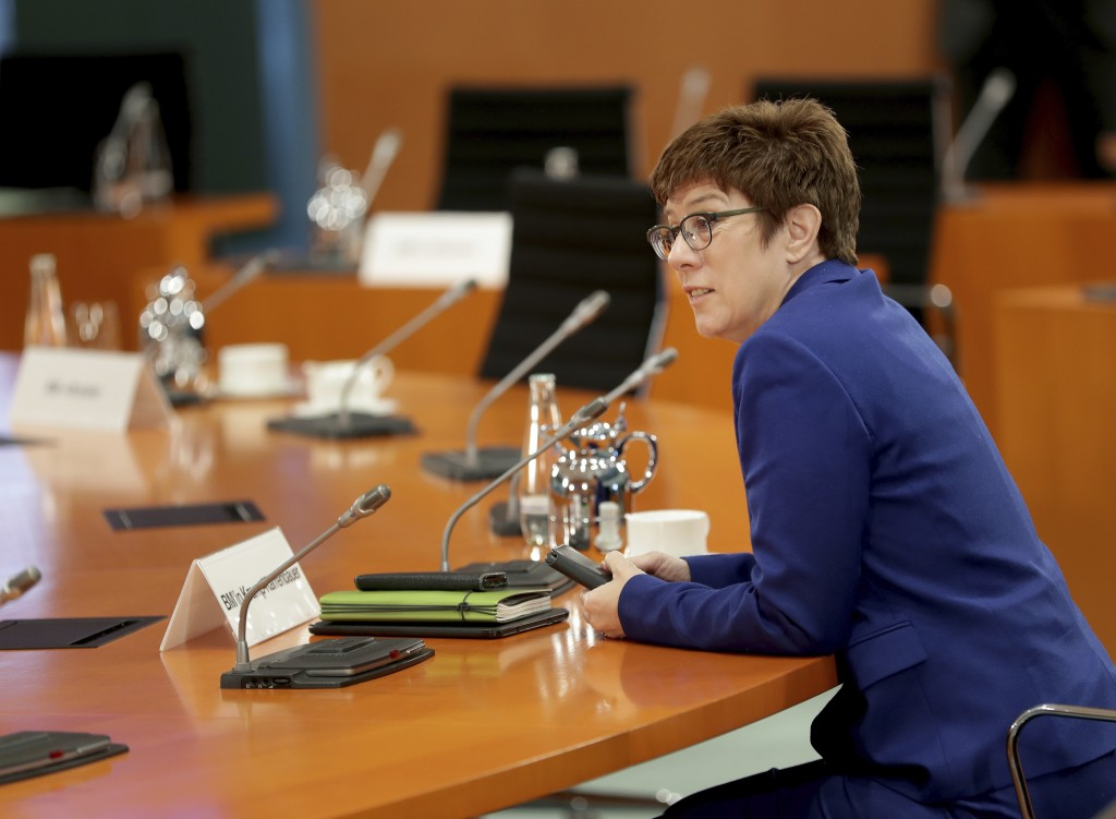 German Defence Minister Annegret Kramp-Karrenbauer speaks prior to the weekly cabinet meeting at the Chancellery in Berlin, Germany, Wednesday, July 8...