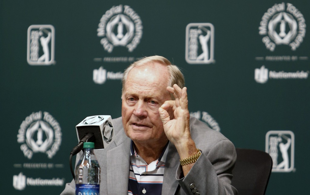 FILE - This May 30, 2017, file photo, shows Jack Nicklaus answering questions during a news conference a few days before the start of the Memorial gol...